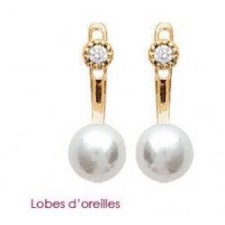 Boucles D'oreilles Perles Zirconium Plaqué Or 18 Carats Garanti 10 Ans Bijoux