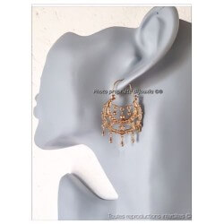 Boucles D'oreilles Créoles Savoyardes zirconium Plaqué Or 18 carats Bijoux Femme