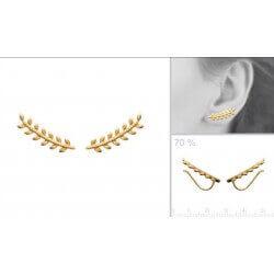 Boucles D'oreilles Feuilles Plaqué Or 18 Carats Garanti 10 Ans 3 Microns Bijoux