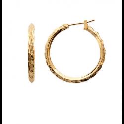 Boucles D'oreilles Créoles 3cm Plaqué Or 18 Carats Garanti 10 ans Bijoux Femme