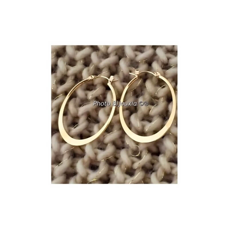 Boucles D'oreilles Créoles Ovales Plaqué Or 18 Carats  Bijoux Femme