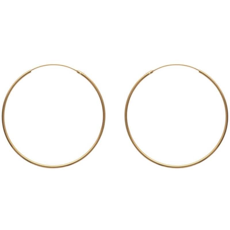 Boucles D'oreilles Créoles Lisses 5 cm  Plaqué or 18 Carats 750/1000  Bijoux