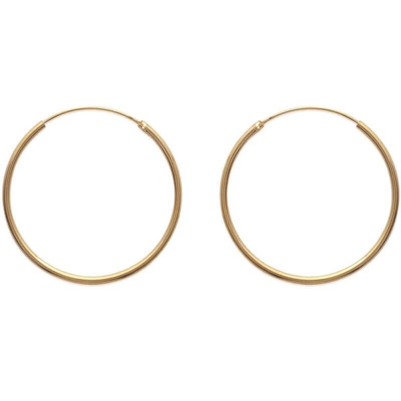 Boucles D'oreilles Créoles Lisses 4 cm - Plaqué or 18 Carats 750/1000 - Bijoux