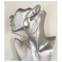 Boucles D'oreilles Créoles Rondes 6cm Plaqué or 18 Carats 750/1000 Bijoux Femme