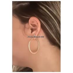 Boucles D'oreilles Créoles ovales 4cm Plaqué Or 18 Carats  Bijoux Femme