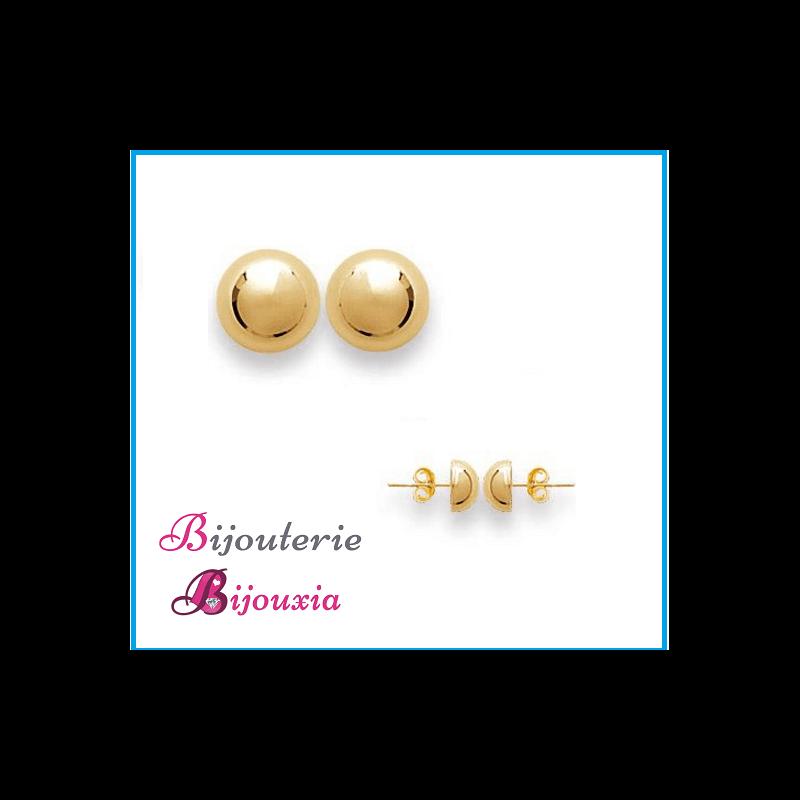 Boucles D'oreilles Demi-Boules 8 MM Plaqué Or 18 Carats Garanti 10 Ans Bijoux