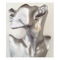Boucles D'oreilles Pendantes Ajourées  Plaqué Or 18 carats Garanti 10 ans