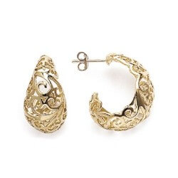 Boucles D'oreilles Demi-Créoles Ajourées Plaqué Or 18 carats Garanti 10 ans