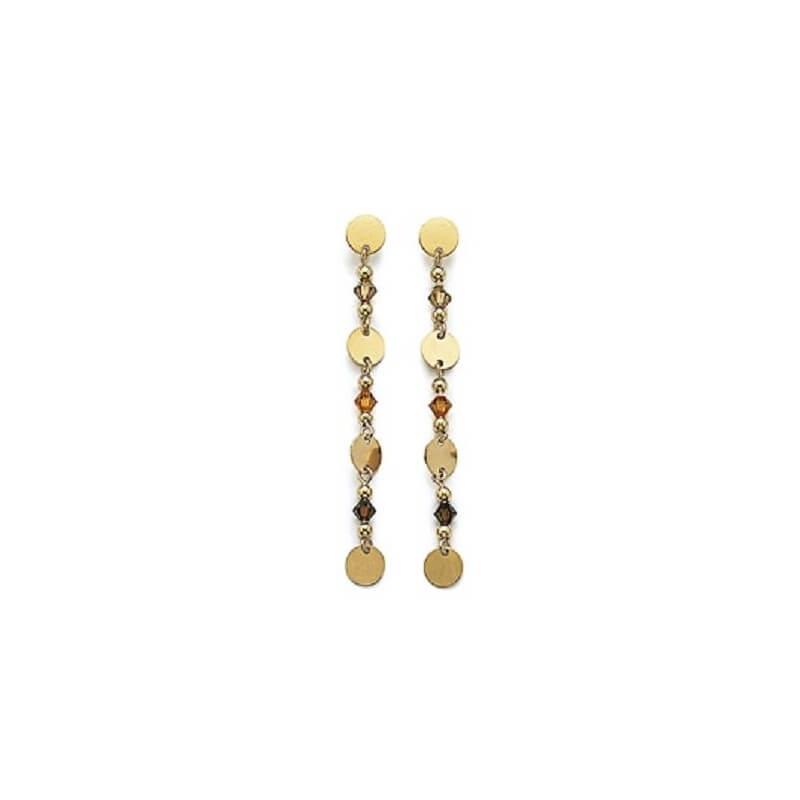 Boucles D'oreilles Pendantes - Plaqué Or 18 Carats - Garanti 10ans- Bijoux Femme