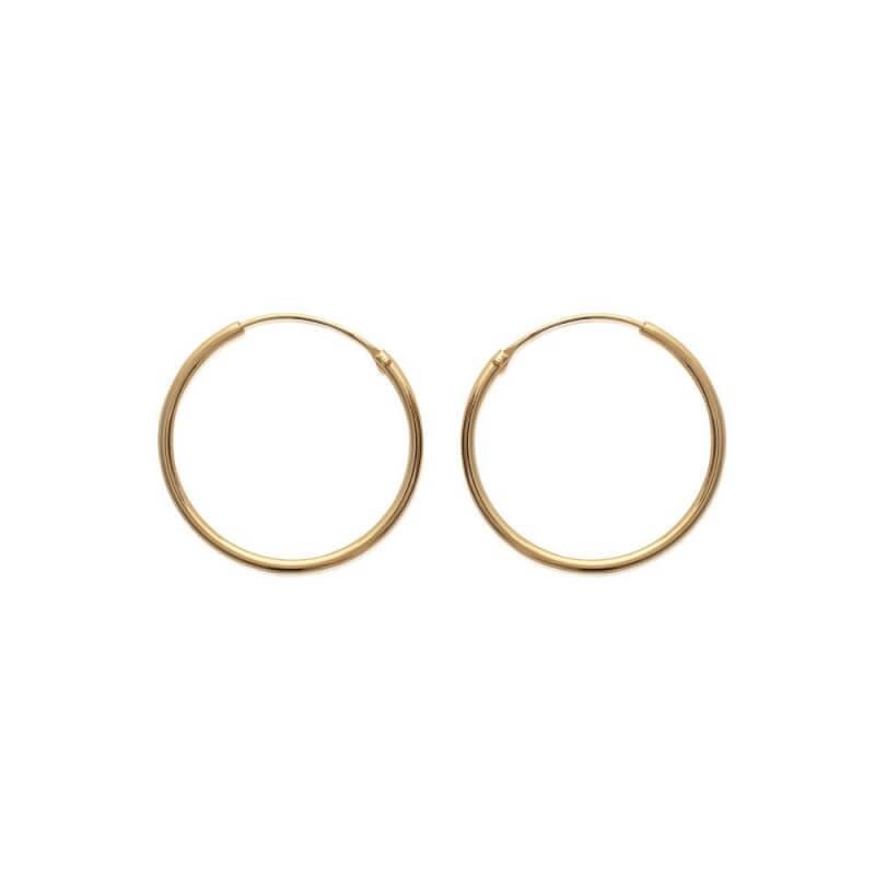Boucles D'oreilles Créoles Lisses 2 cm Plaqué or 18 Carats 750/1000  Bijoux