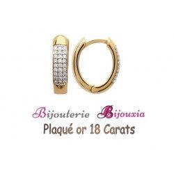 Boucles D'oreilles Créoles Microserti-Zirconium Plaqué or 18 CARATS Bijoux Femme
