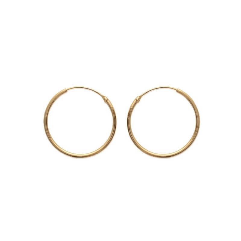 Boucles D'oreilles Créoles Lisses 3 cm Plaqué or 18 Carats 750/1000  Bijoux