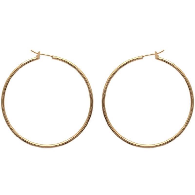 Boucles D'oreilles Créoles 5cm Plaqué Or 18CARATS  3 Microns Bijoux Femme