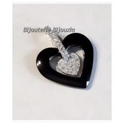 Collier Pendentif Cœur Céramique cristal Chaîne En Argent Massif 925/1000 Bijoux