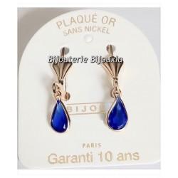 Boucle D'oreilles Goutte Cristal Saphir Plaqué Or 18 Carats Garanti Bijoux Femme