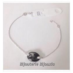 Bracelet grain de café céramique & Argent Massif 925/000 - Bijoux Femme