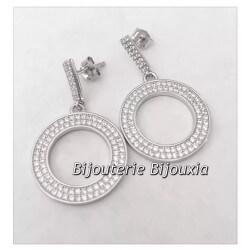 Boucles D'oreilles Anneaux pendants-Zirconium- Argent 925-Rhodié-Bijoux Femme