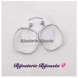 Boucles D'oreilles Anneaux forme carrée Zirconium Argent 925 Rhodié Bijoux Femme