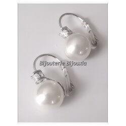 Boucle D'oreilles Dormeuses Perle Majorque Argent Massif 925/1000 Bijoux Femme
