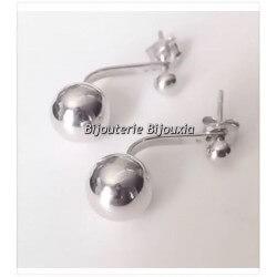 Boucles D'oreilles Tendances Lobes - Boules-Argent Massif 925/1000 -Bijoux Femme