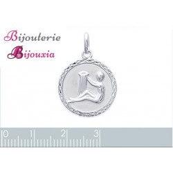 Pendentif Médaille Signe Zodiaque VERSEAU Argent Massif 925/1000 Bijoux NEUF