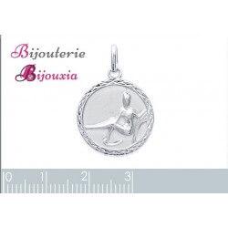 Pendentif Médaille Signe Zodiaque VIERGE Argent Massif 925/1000 Bijoux NEUF