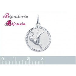 Pendentif Médaille Signe Zodiaque CAPRICORNE Argent Massif 925/1000 Bijoux NEUF