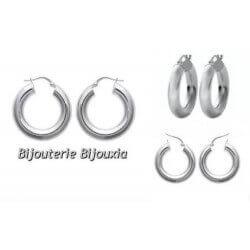 Boucles D'oreilles Créoles Épaisses En Argent Massif 925/000 Neuf Bijoux Femme