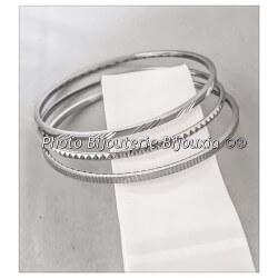 Bracelets Trois Joncs Ciselés En Acier Inoxydable 316L Bijoux Femme LOT