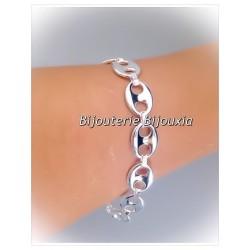 Bracelet Grain De Café Large 10,5MM X 19 CM Argent Massif 925/1000 Bijoux Femme