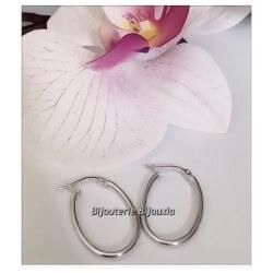 Boucles D'oreilles Créoles Ovales - Argent Massif 925/1000 Rhodié Bijoux Femme