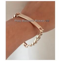 Bracelet Gravure Identité Figaro 21 CM  Plaqué or 18 Carats 750/1000 Bijoux