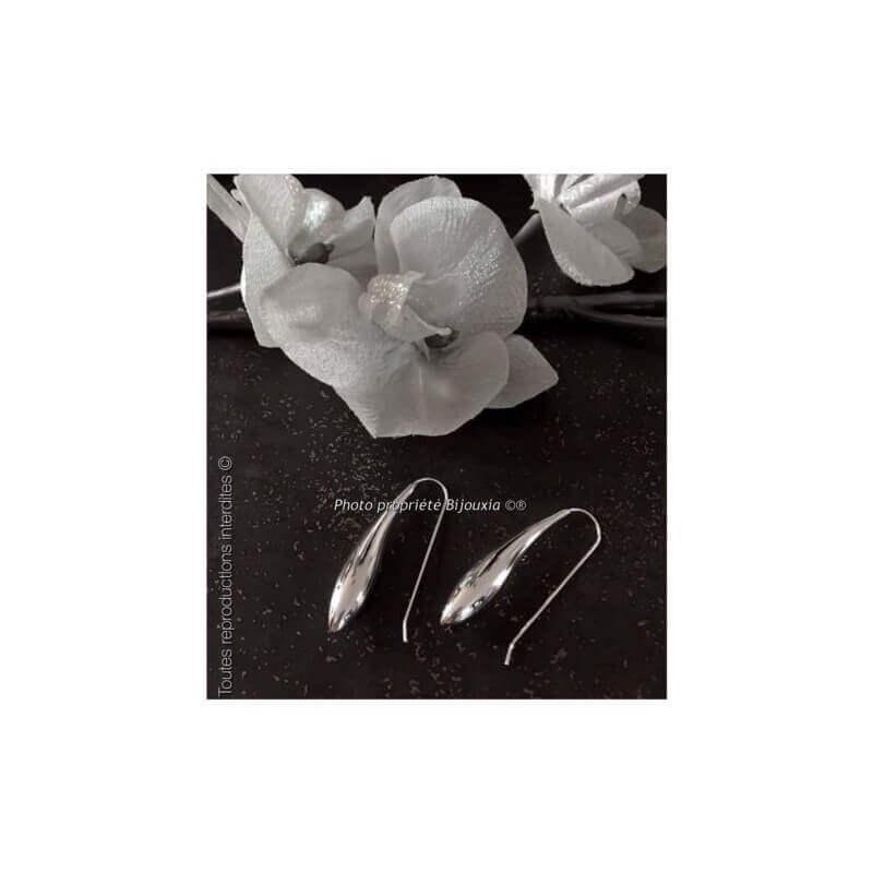 Boucles D'oreilles Longues goutte D'eau Argent Massif 925/000 Bijoux Femme