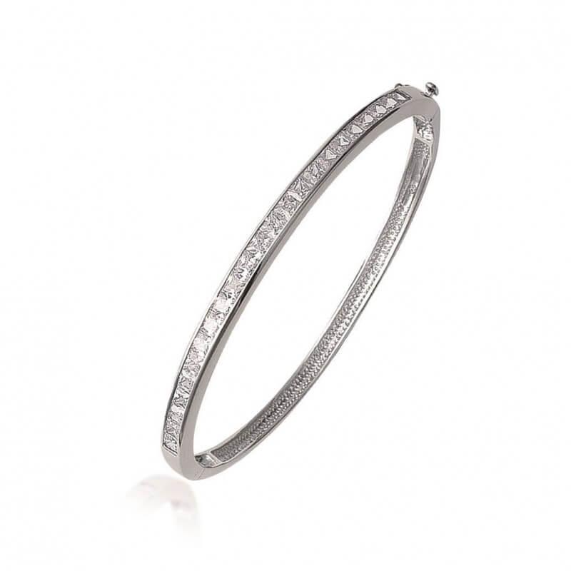 Bracelet Contour Pavé Cristaux Zirconium Argent 925/1000 Rhodié Bijoux Femme