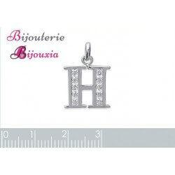 Pendentif LETTRES CHOIX  ZIRCONIUM - Argent Massif 925/1000 Rhodié - BIJOUX