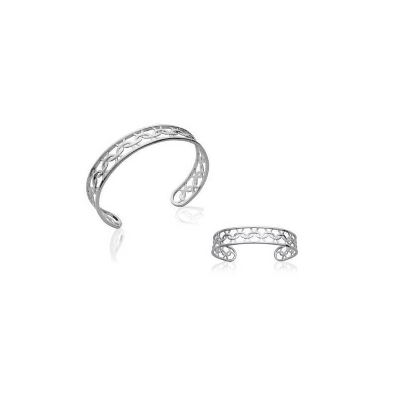 Bracelet Jonc ajustable motifs Ciselés Argent Massif 925/000 Rhodié Bijoux Femme