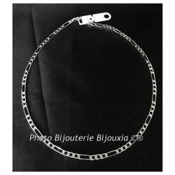 Chaîne Maille Figaro 1-3 Argent Massif 925/1000 Longueur au choix BIJOUX Homme
