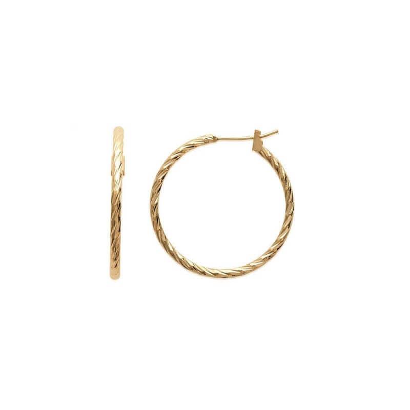 Boucles d'oreilles Créoles 3 cm Torsadées Plaqué Or 18 CARATS Bijoux Femme