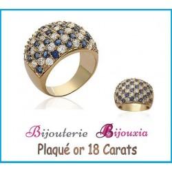 Bague Large Empierée Pavé ZIRCONIUM Bleu&Blanc Plaqué or 18CARATS 750/000 Bijoux