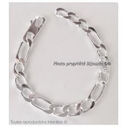 Bracelet Maille Figaro Maillons Large 23CM Argent Massif 925/1000 Bijoux Homme