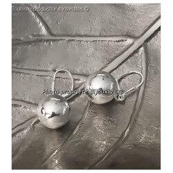 Boucles D'oreilles Dormeuses Grosses Boules Argent Massif 925/1000 Bijoux Femme
