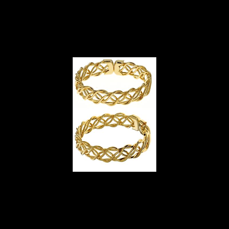 Bracelet Jonc Ouvert Fils Croisés Plaqué Or 18 carats Garanti  NEUF Bijoux Femme