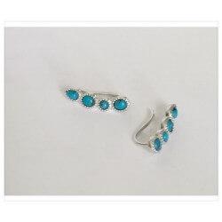 Boucles D'oreilles contour d'oreille Pierre turquoise - Argent 925/000 - Bijoux