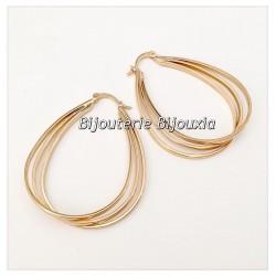 Boucles D'oreilles Créoles Forme Poire Plaqué Or 18 Carats Bijoux Femme