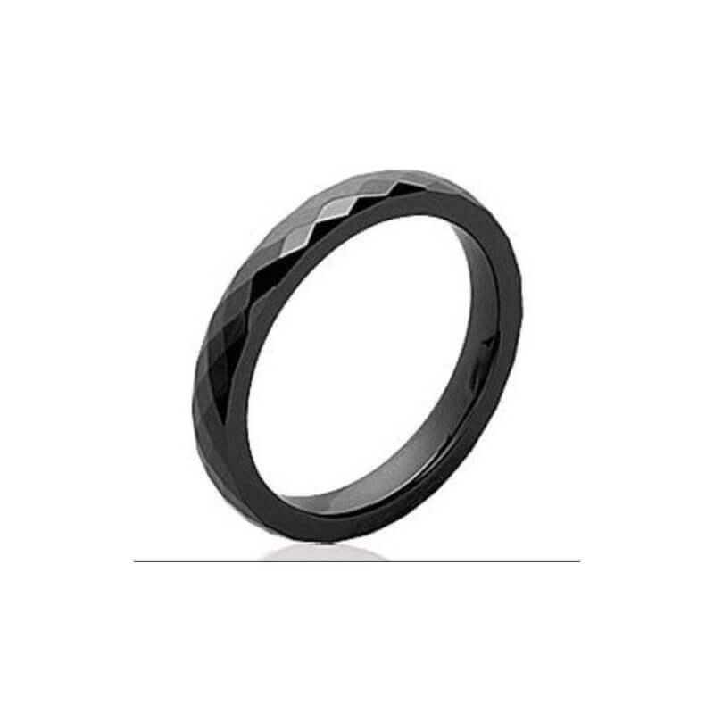 Bague Alliance Facettée 3MM En Céramique Noire Bijoux T50-52-54-56-58-60 CDE