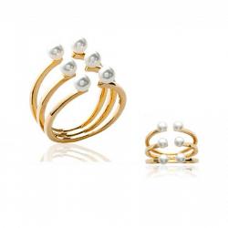 Bague Triple Rangs 6 Perles Blanches  Plaqué or 18 CARATS Bijoux Tailles CHOIX
