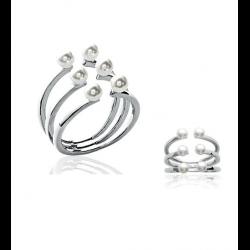 Bague Triple Rangs 6 Perles Blanches  Argent Massif 925/000 Bijoux Tailles CHOIX