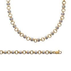Bracelet Bicolore Maillons Entrelacés Plaqué Or 18 Carats Garanti 10 Ans Bijoux