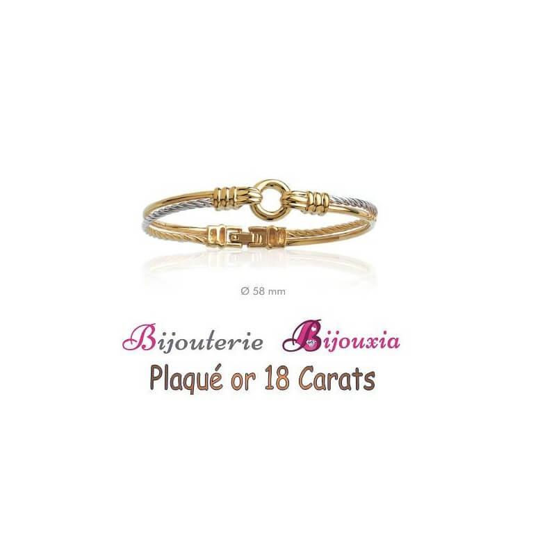 Bracelet Bicolore Fil Câble Ciselé  Plaqué Or 18 Carats Garanti 10 Ans Bijoux