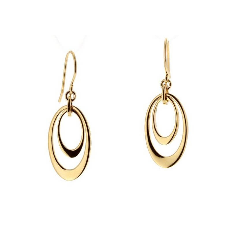 Boucles D'oreilles Pendantes Double Anneau ovale Plaqué Or 18Carats Bijoux Femme
